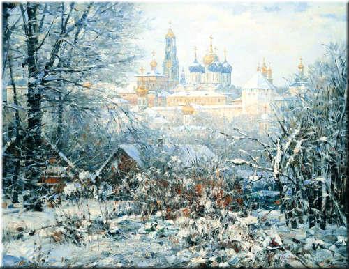 Январь. Зима. Такой небесный свет идет от снега .. Автор Л.Кузьминская